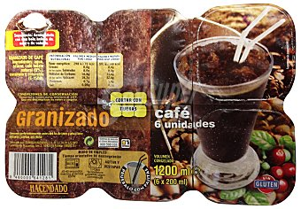 HACENDADO Helado granizado de café Pack 6 u (1200cc)