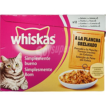 PLANCHA Pescados a la en trocitos con gelatina para gato Pack 12 bolsa 85 g