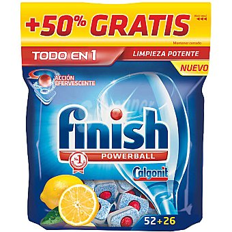 Finish Detergente lavavajillas Power Ball todo en 1 limón acción efervescente Bolsa 52 pastillas