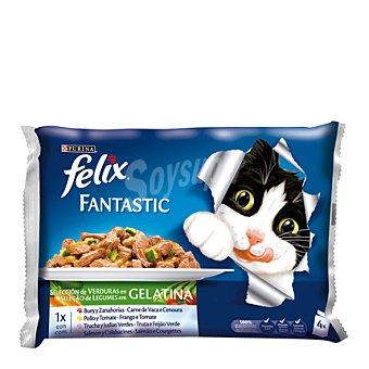 Felix Comida para Gatos Fantasic con Carne  4 unidades de 100 g
