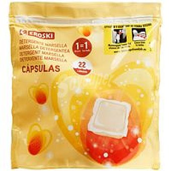 Eroski Detergente Marsella en cápsulas bolsa 22 dosis