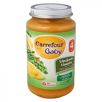 Carrefour Baby Tarrito de verduras variadas desde 4 meses sin gluten 250 G 250 g