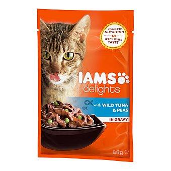 Iams delights Comida húmeda para gatos adultos Iams Delights atún y guisantes en salsa 85 gr 85 gr