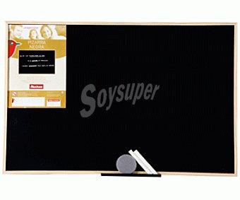 Auchan Pizarra tradcional de color negro, con marco de madera y medidas de 90 x 60 centímetros auchan 90x60cm
