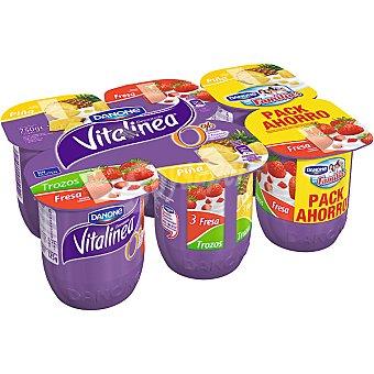 Vitalínea Danone Yogur desnatado con trozos de fresa + 3 con trozos de piña Pack 6 unidades 125 g