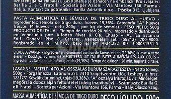 Barilla Lasaña al huevo LA collezione Caja 500 g