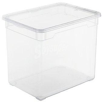 Carrefour Home Caja con tapa de Plástico Basic 46 Litros - Transparente 1 ud