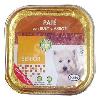 Bobby Comida perro razas pequeñas senior pate buey arroz Tarrina de 150 g