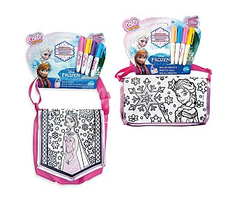 Disney Bolso mini bandolera Pretty Frozen con 4 rotuladores para pintarla y decorarla, Color Me Mine 1 unidad