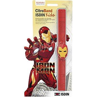 Isdin Kids CitroBand pulsera aromática con citronela diseño Iron Man 1 unidad + 2 pastillas de citronela de recarga 1 unidad + 2 pastillas