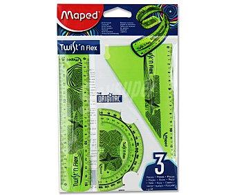 Maped Set de trazado que incluye: regla de 15 centímetros, escuadra de 15 centímetros y transportador de ángulos de 10 centímetros, todos ellos flexibles 1 unidad