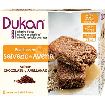 Dieta Dunkan Barritas de salvado de avena con chocolate y avellanas caja 150 g 6 unidades