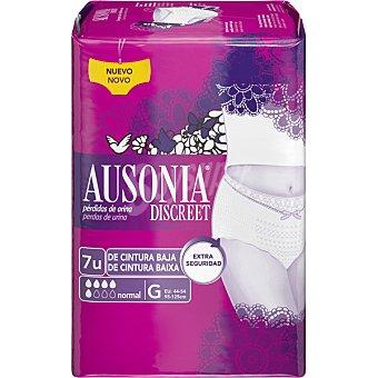 Ausonia discreet Compresa normal para perdidas de orina de cintura baja G 95-125 cm Bolsa 7 unidades