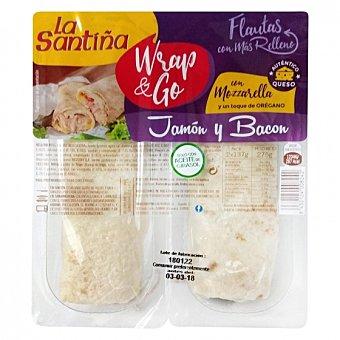 La Santiña Flautas rellenas de jamón y bacon con mozzarella y toque de orégano wrap & go Pack de 2 unidades de 137 g