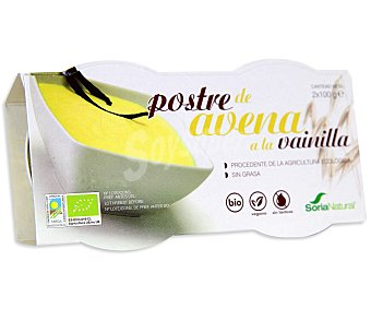 Soria Natural Postre ecológico de avena a la vainilla 100% natural Pack de 2 unidades de 100 gr