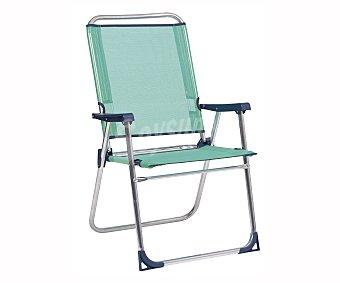 Alco Silla marinera plegable para camping y playa. Fabricada en tubo redondo de aluminio y con asiento y respaldo alto de textileno FIBERLINE.