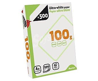 Auchan Paquete de 500 hojas de papel ultra-blanco tamaño folio de 100 gramos 1 unidad