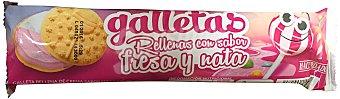 HACENDADO Galleta rellena sabor fresa y nata Paquete de 144 g