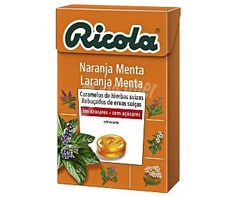 Ricola Caramelos de hierbas suizas, sin azúcar, sabor a menta-naranja y efecto refrescante 50 g