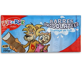 Rik&Rok Auchan Barritas de Chocolate Con Leche 16 Unidades (200 Gramos)