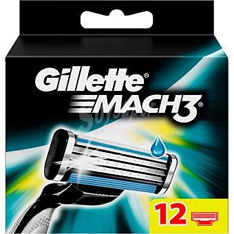 GILLETTE MACH3 Recambio de maquinilla de afeitar estuche 12 Unidades