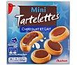 Tartaletas mini de galletas rellenas de leche y napadas con chocolate con leche 225 gr Auchan