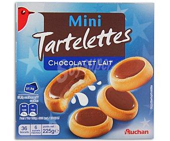 Auchan Tartaletas mini de galletas rellenas de leche y napadas con chocolate con leche 225 gr