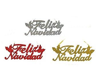 """Noel art Cartel de 38 centímetros con la frase """"Feliz Navidad"""" de color rojo brillante NOEL ART. Este producto dispone de distintos modelos o colores. Se venden por separado SE SURTIRÁN SEGÚN EXISTENCIAS"""