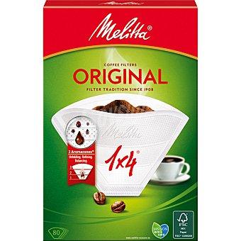 MELITTA Filtros de cafe Classic 1-4 tazas bolsa 80 unidades