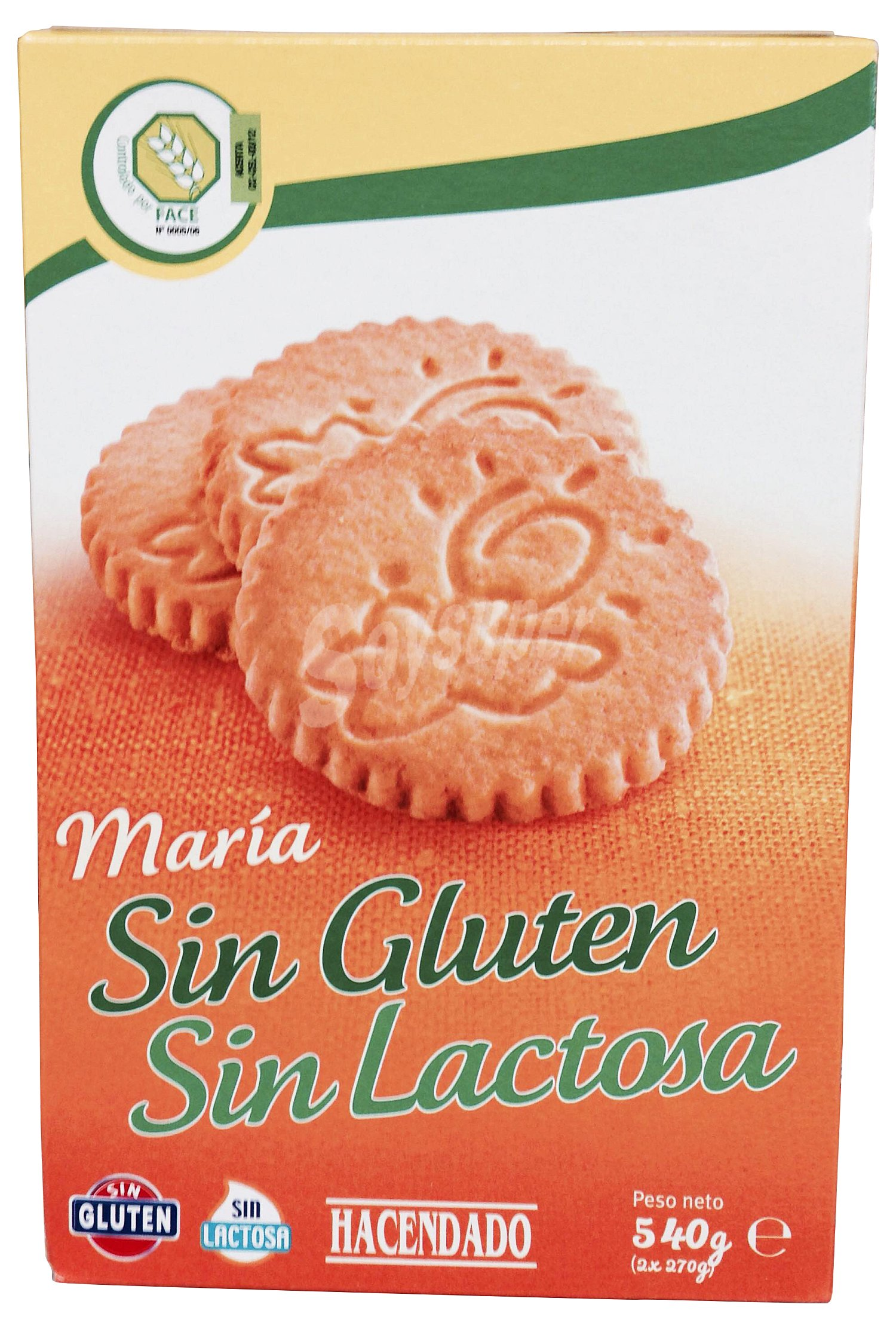 Hacendado Galleta maria sin gluten y sin lactosa Caja de 540 g