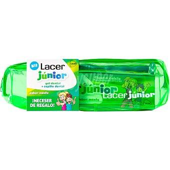 Lacer Junior gel dental sabor menta + cepillo dental a partir de 6 años estuche 1 unidad con neceser de regalo Estuche 1 unidad