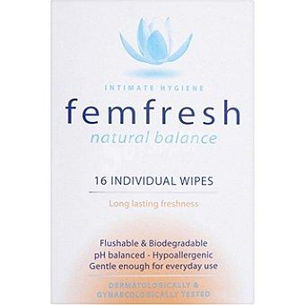 FEMFRESH Toallitas íntimas individuales fresh Caja 16 unidades