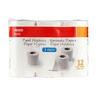 Eroski Basic Higiénico 2 capas Paquete 12 rollos