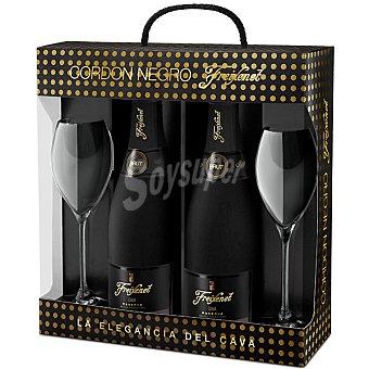 Freixenet Negro estuche cava brut Cordon 2 botella 75 cl con regalo de 2 copas