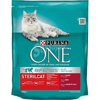 One Purina Alimento para gatos rico en buey y trigo para gatos esterilizados Envase 800 g
