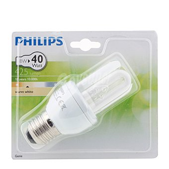 Philips Bombilla Genie tubo ahorradora 8W, blanca cálido, E27 1 Unidad