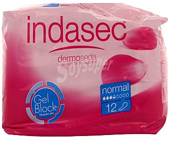 Indasec Compresas tipo normal para pequeñas perdidas de orina (bloquean el olor) 12 unidades