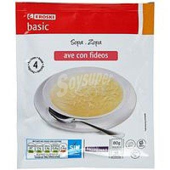 Eroski Basic Sopa de ave con fideos Sobre 80 g