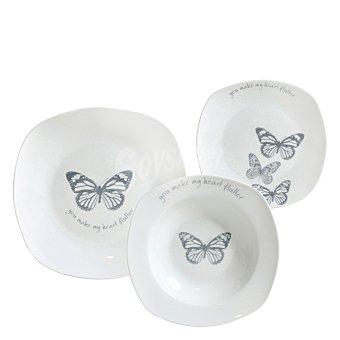 Vajilla 18 piezas en porcelana decorada Mod. BUTTERFLY                 18 piezas