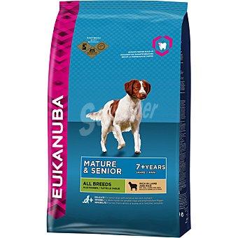 EUKANUBA MATURE & SENIOR Alimento completo para todas las razas en etapa de madurez + 7 años con cordero y arroz bolsa 12 kg Bolsa 12 kg