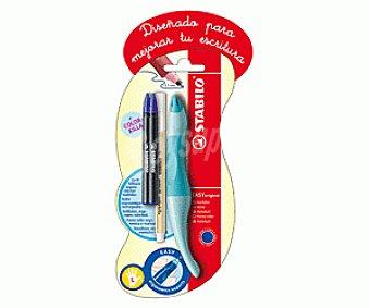 Stabilo Bolígrafo ergonómico del tipo roller especial para zurdos, punta media con grosor de escritura de 0.5 milímetros y tinta líquida azul + 2 recambios de tinta + un bolígrafo borrador 1 unidad