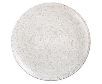 LUMINARC Plato llano modelo Stonemania de 25 centímetros, fabricado en vidrio templado de color blanco y moderno diseño de lineas en espiral 1 Unidad