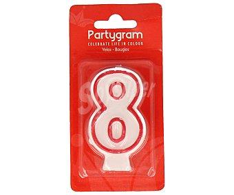 PARTYGRAM Vela de cumpleaños número 8 con filo color rojo 1 Unidad