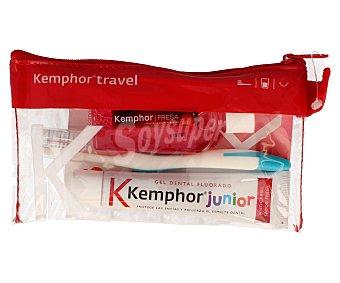 Kemphor Neceser junior con pasta dentífrica fluorada, cepillo de dientes y enjuague bucal 1 unidad