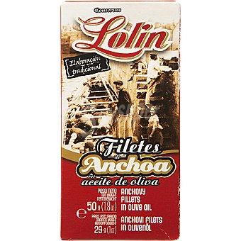 Lolín Filetes de anchoa en aceite de oliva Lata 29 g neto escurrido