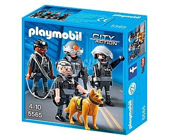 PLAYMOBIL Play set de policías City Action, Equipo unidad especial de policía, incluye 4 figuras policía y 1 perro policía, modelo 5565 de 1 unidad