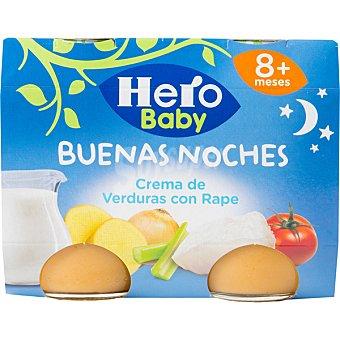 HERO BABY NOCHES Tarritos de crema de verduras con rape 100% natural 2x190g envase 380 g 2x190g