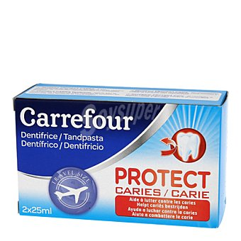Carrefour Kit mini dentifricos proteccion caries Pack 2x25 ml