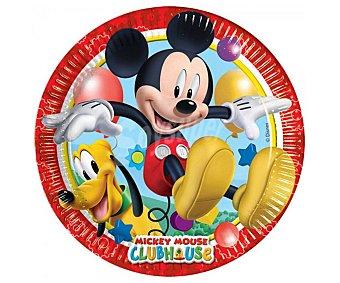 Mickey Disney Llanos de cartón con diseño Mickey Mouse, 23cm. Mickey disney Pack de 8 platos