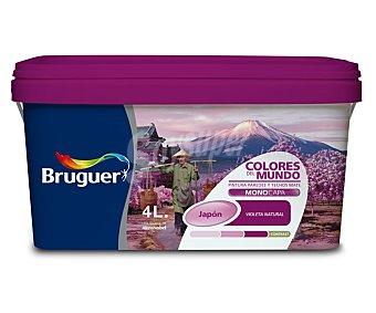 BRUGUER Pintura plástica monocapa de interior, de color violeta Japón y acabado natural, de la serie Colores del mundo 4 litros